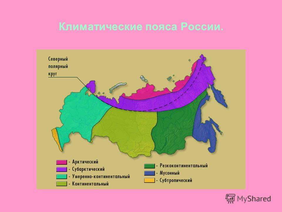 Климатические пояса России.