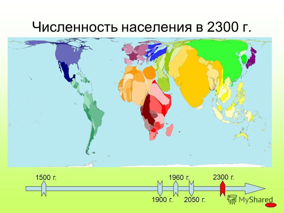 1500 г. 1900 г. 1960 г. 2050 г. 2300 г. Численность населения в 2300 г.