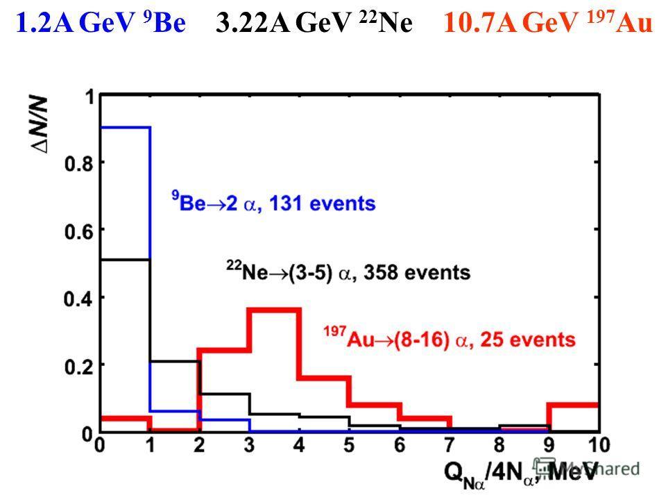 1.2A GeV 9 Be 3.22A GeV 22 Ne 10.7A GeV 197 Au