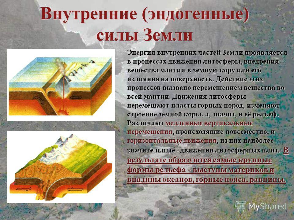 Внутренние (эндогенные) силы Земли Энергия внутренних частей Земли проявляется в процессах движения литосферы, внедрения вещества мантии в земную кору или его излияния на поверхность. Действие этих процессов вызвано перемещением вещества во всей мант