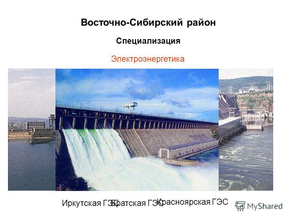 Восточно-Сибирский район Специализация Электроэнергетика Обеспечивает более 13% электроэнергии в стране Иркутская ГЭСБратская ГЭС Красноярская ГЭС