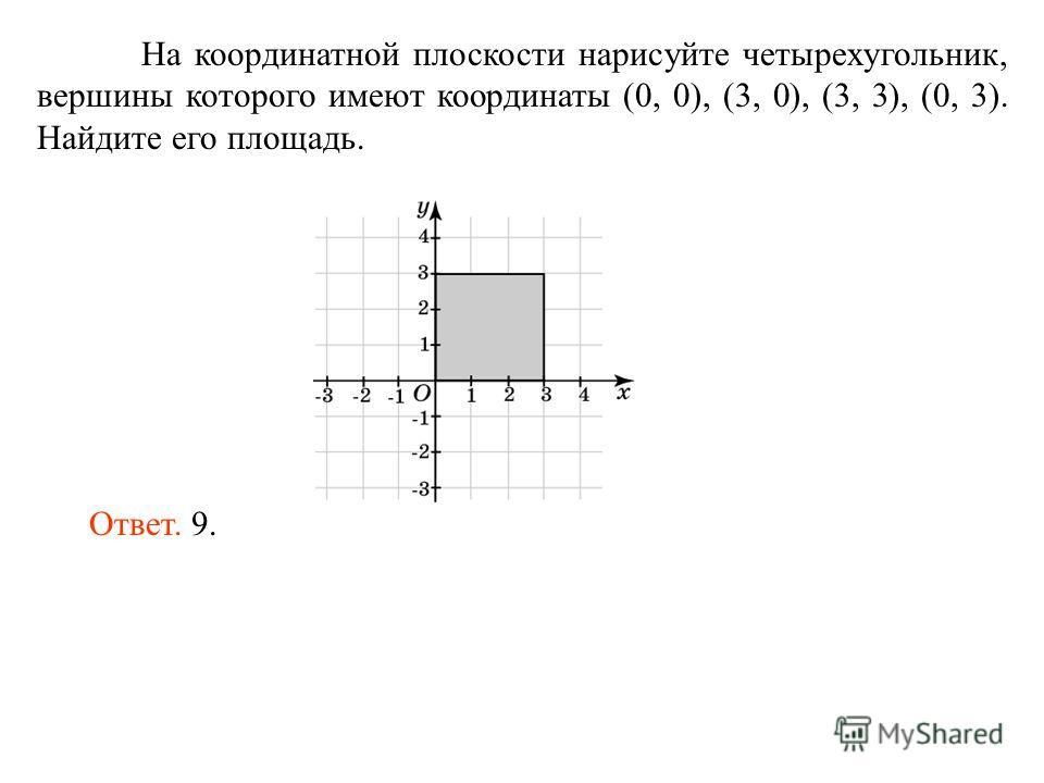 На координатной плоскости нарисуйте четырехугольник, вершины которого имеют координаты (0, 0), (3, 0), (3, 3), (0, 3). Найдите его площадь. Ответ. 9.