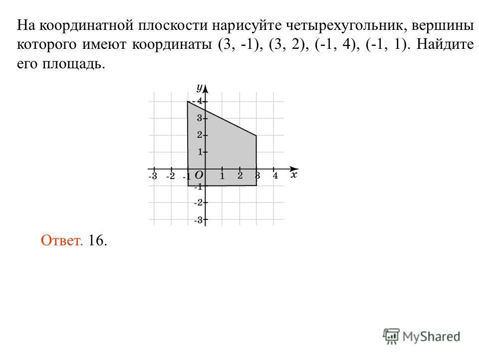 На координатной плоскости нарисуйте четырехугольник, вершины которого имеют координаты (3, -1), (3, 2), (-1, 4), (-1, 1). Найдите его площадь. Ответ. 16.