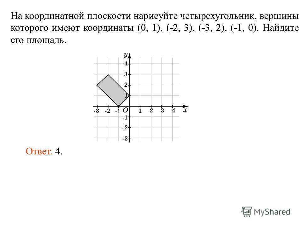 На координатной плоскости нарисуйте четырехугольник, вершины которого имеют координаты (0, 1), (-2, 3), (-3, 2), (-1, 0). Найдите его площадь. Ответ. 4.