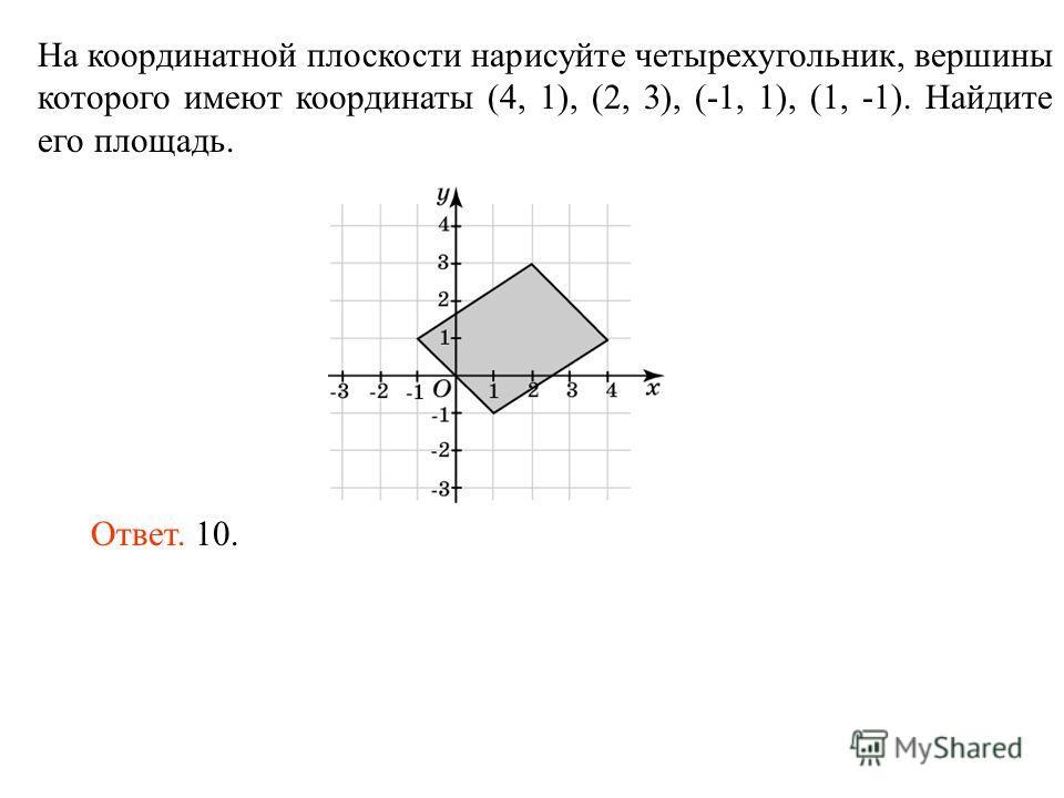 На координатной плоскости нарисуйте четырехугольник, вершины которого имеют координаты (4, 1), (2, 3), (-1, 1), (1, -1). Найдите его площадь. Ответ. 10.