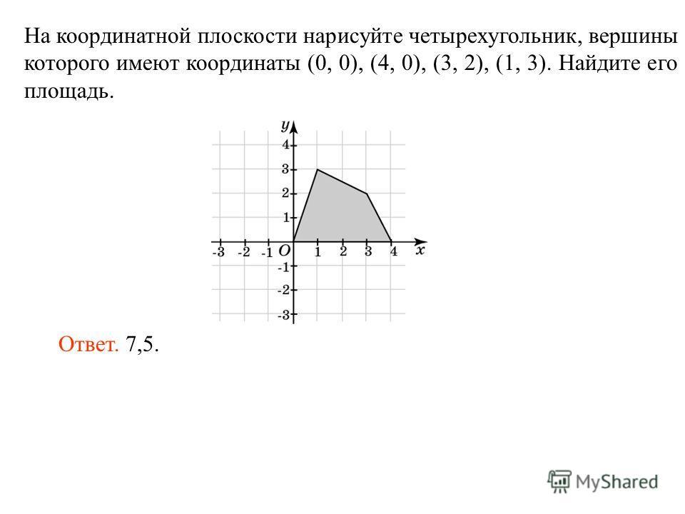 На координатной плоскости нарисуйте четырехугольник, вершины которого имеют координаты (0, 0), (4, 0), (3, 2), (1, 3). Найдите его площадь. Ответ. 7,5.