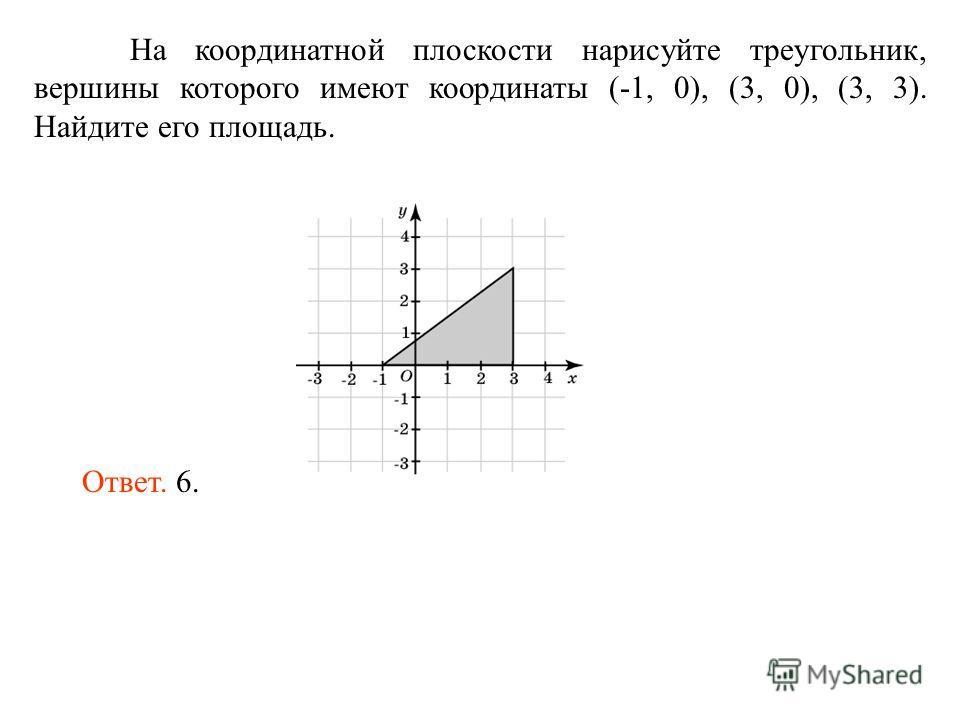 На координатной плоскости нарисуйте треугольник, вершины которого имеют координаты (-1, 0), (3, 0), (3, 3). Найдите его площадь. Ответ. 6.