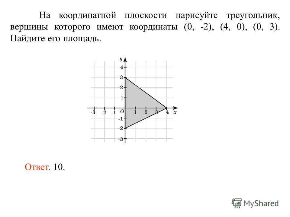 На координатной плоскости нарисуйте треугольник, вершины которого имеют координаты (0, -2), (4, 0), (0, 3). Найдите его площадь. Ответ. 10.