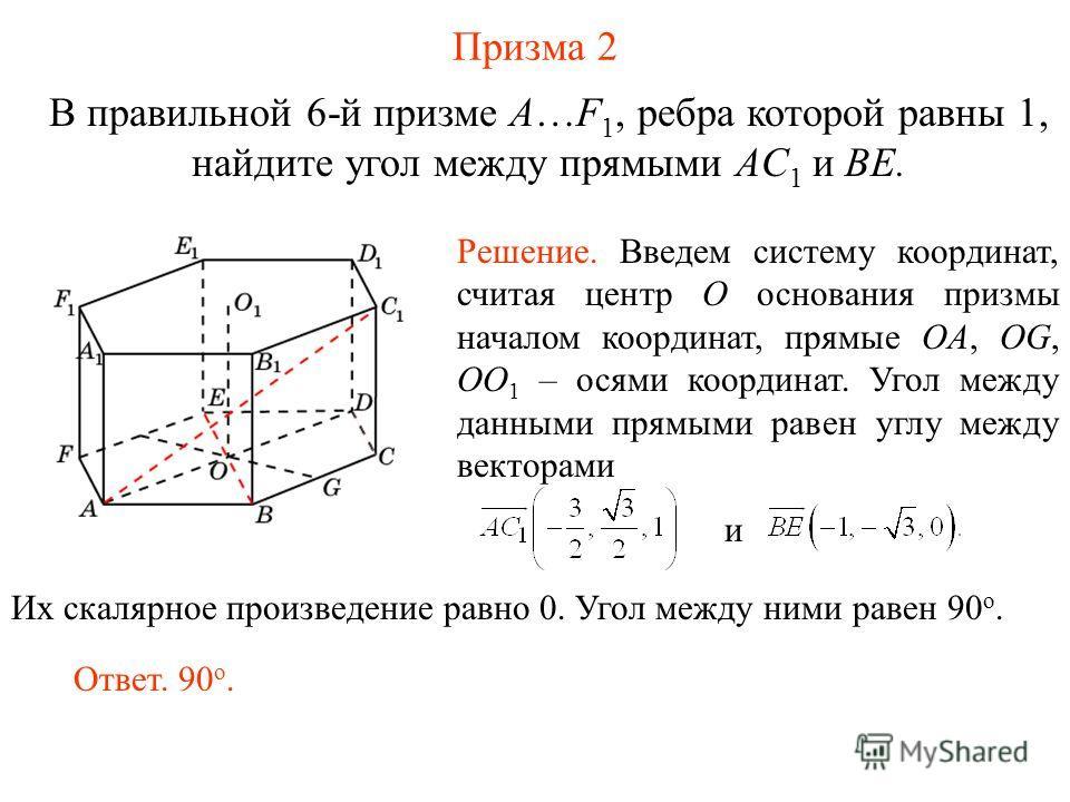 В правильной 6-й призме A…F 1, ребра которой равны 1, найдите угол между прямыми AС 1 и BE. Призма 2 Ответ. 90 о. Решение. Введем систему координат, считая центр O основания призмы началом координат, прямые OA, OG, OO 1 – осями координат. Угол между