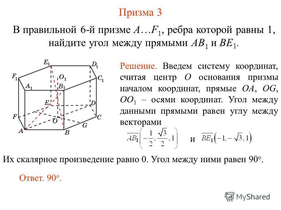 В правильной 6-й призме A…F 1, ребра которой равны 1, найдите угол между прямыми AB 1 и BE 1. Призма 3 Ответ. 90 о. Решение. Введем систему координат, считая центр O основания призмы началом координат, прямые OA, OG, OO 1 – осями координат. Угол межд