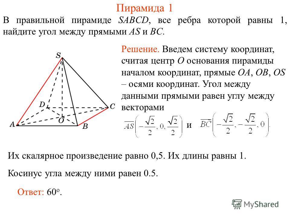 В правильной пирамиде SABCD, все ребра которой равны 1, найдите угол между прямыми AS и BС. Пирамида 1 Ответ: 60 о. Решение. Введем систему координат, считая центр O основания пирамиды началом координат, прямые OA, OB, OS – осями координат. Угол межд