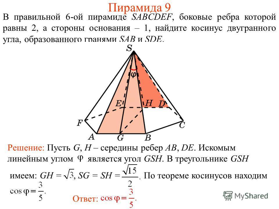 В правильной 6-ой пирамиде SABCDEF, боковые ребра которой равны 2, а стороны основания – 1, найдите косинус двугранного угла, образованного гранями SAB и SDE. Ответ: Решение: Пусть G, H – середины ребер AB, DE. Искомым линейным углом является угол GS