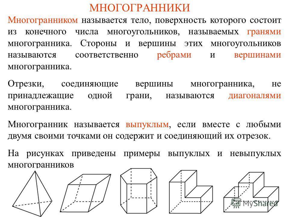 МНОГОГРАННИКИ Многогранником называется тело, поверхность которого состоит из конечного числа многоугольников, называемых гранями многогранника. Стороны и вершины этих многоугольников называются соответственно ребрами и вершинами многогранника. Отрез