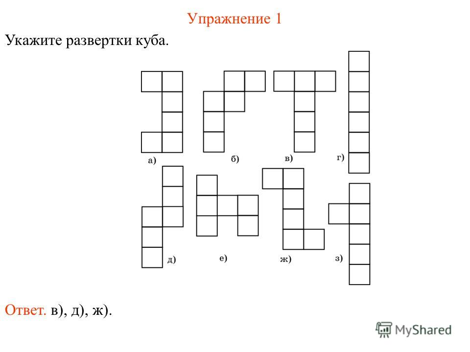 Упражнение 1 Укажите развертки куба. Ответ. в), д), ж).