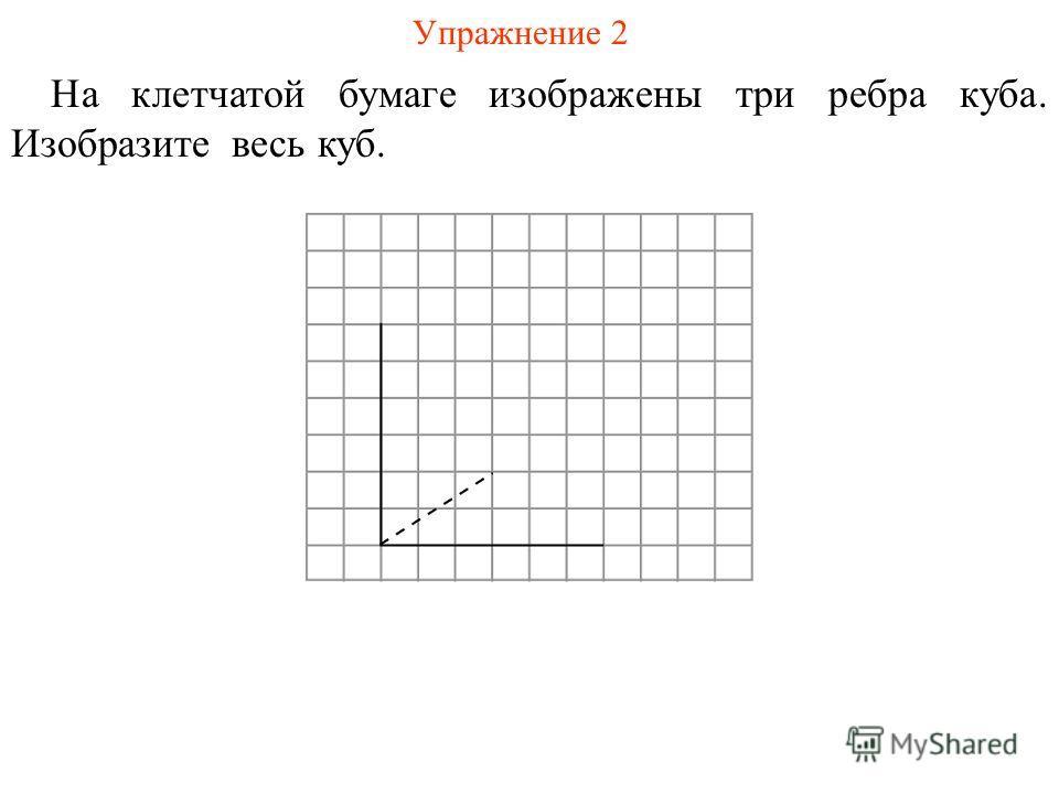 Упражнение 2 На клетчатой бумаге изображены три ребра куба. Изобразите весь куб.