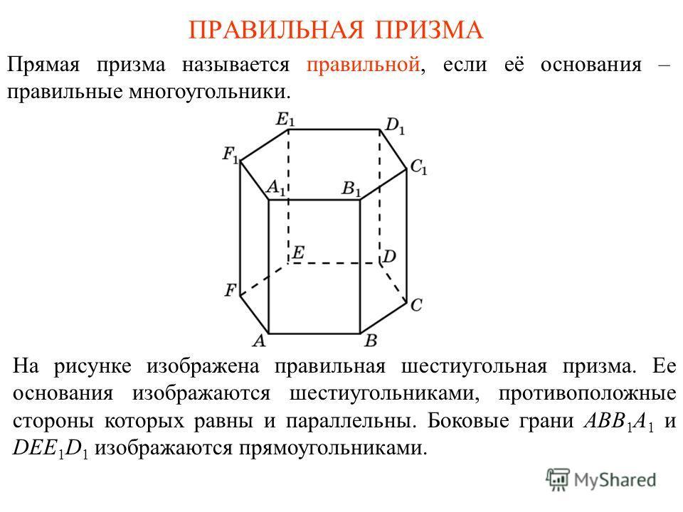 ПРАВИЛЬНАЯ ПРИЗМА Прямая призма называется правильной, если её основания – правильные многоугольники. На рисунке изображена правильная шестиугольная призма. Ее основания изображаются шестиугольниками, противоположные стороны которых равны и параллель