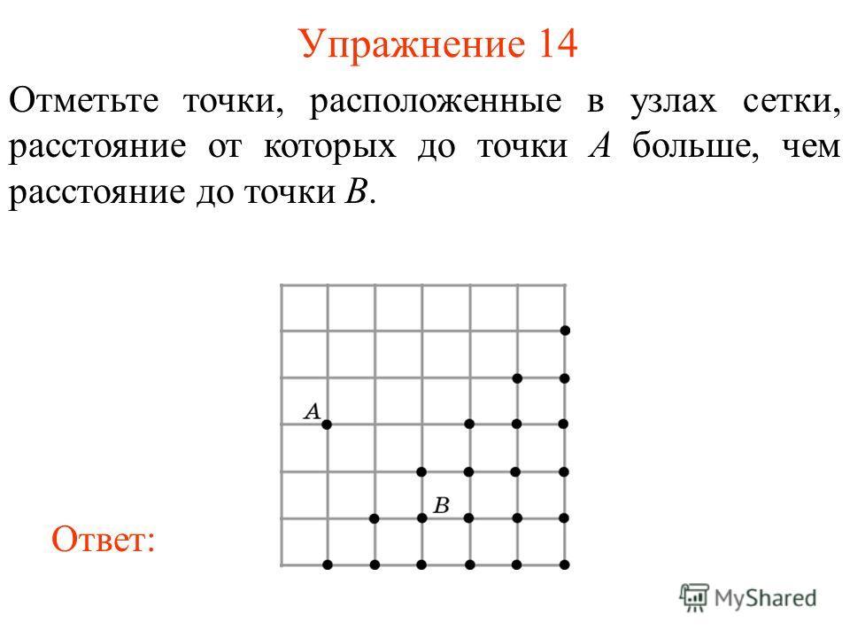 Упражнение 14 Отметьте точки, расположенные в узлах сетки, расстояние от которых до точки A больше, чем расстояние до точки B. Ответ: