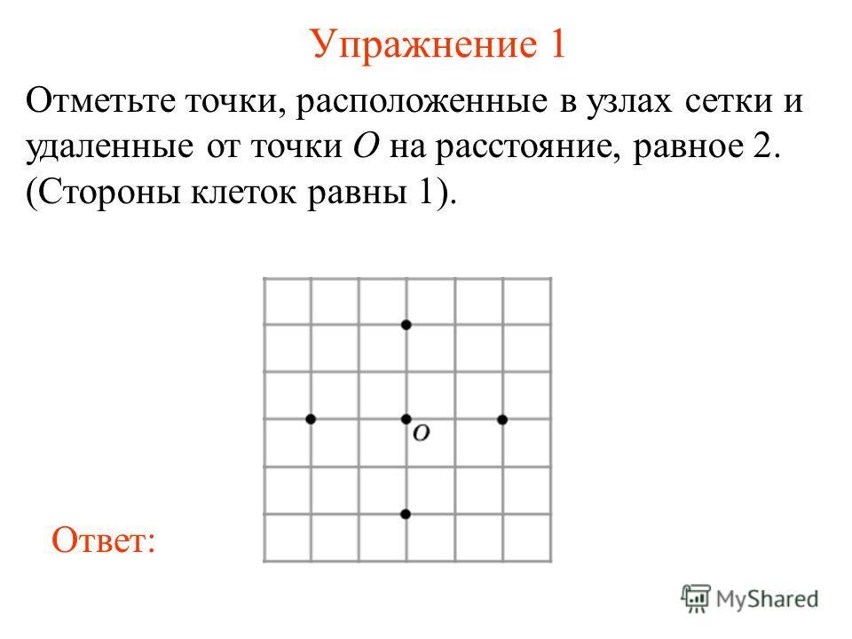 Упражнение 1 Отметьте точки, расположенные в узлах сетки и удаленные от точки O на расстояние, равное 2. (Стороны клеток равны 1). Ответ: