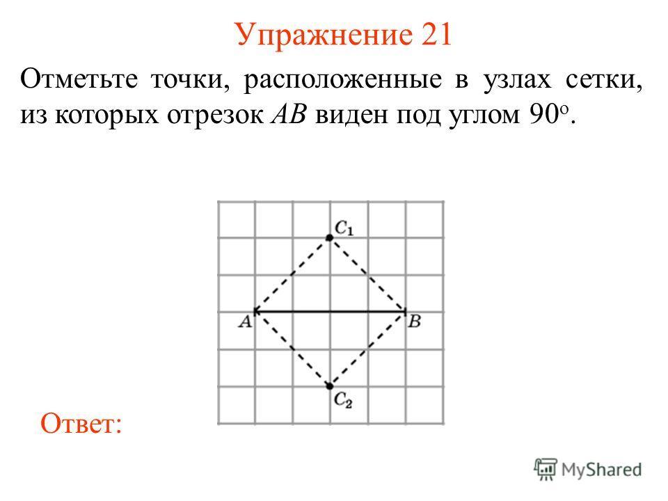 Упражнение 21 Отметьте точки, расположенные в узлах сетки, из которых отрезок AB виден под углом 90 о. Ответ: