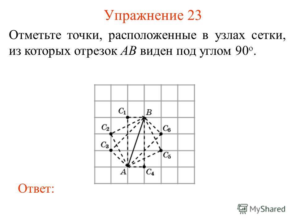 Упражнение 23 Отметьте точки, расположенные в узлах сетки, из которых отрезок AB виден под углом 90 о. Ответ: