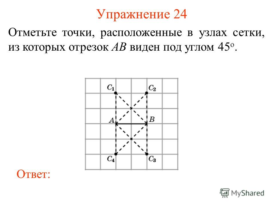 Упражнение 24 Отметьте точки, расположенные в узлах сетки, из которых отрезок AB виден под углом 45 о. Ответ: