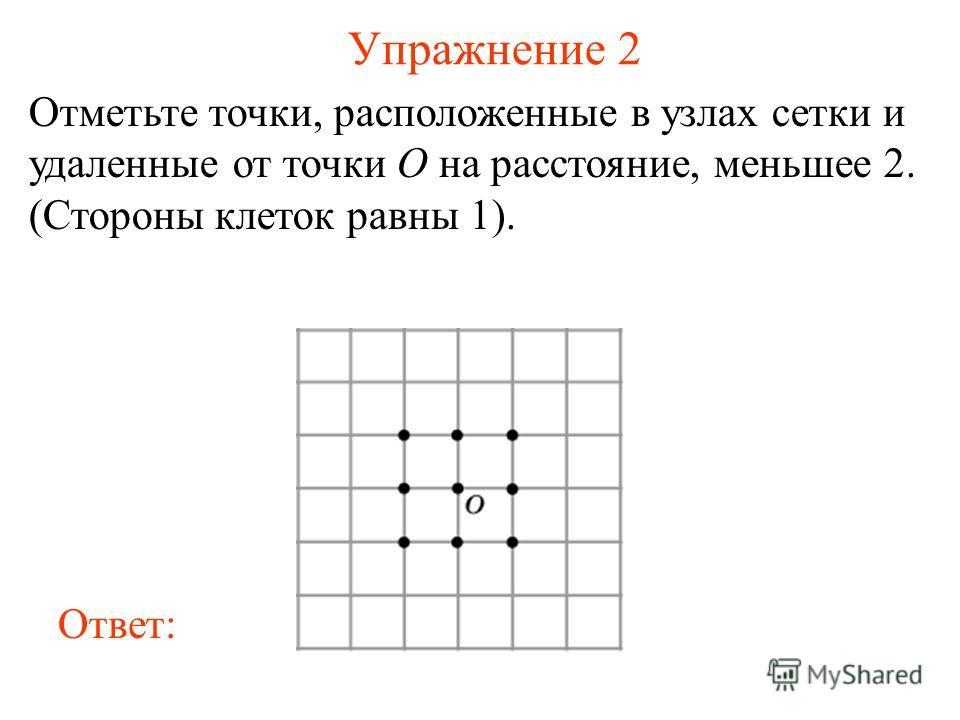 Упражнение 2 Отметьте точки, расположенные в узлах сетки и удаленные от точки O на расстояние, меньшее 2. (Стороны клеток равны 1). Ответ: