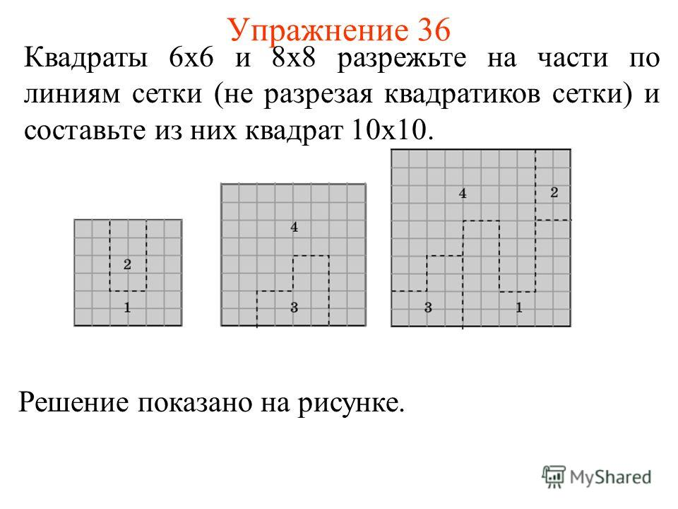 Упражнение 36 Квадраты 6х6 и 8х8 разрежьте на части по линиям сетки (не разрезая квадратиков сетки) и составьте из них квадрат 10х10. Решение показано на рисунке.