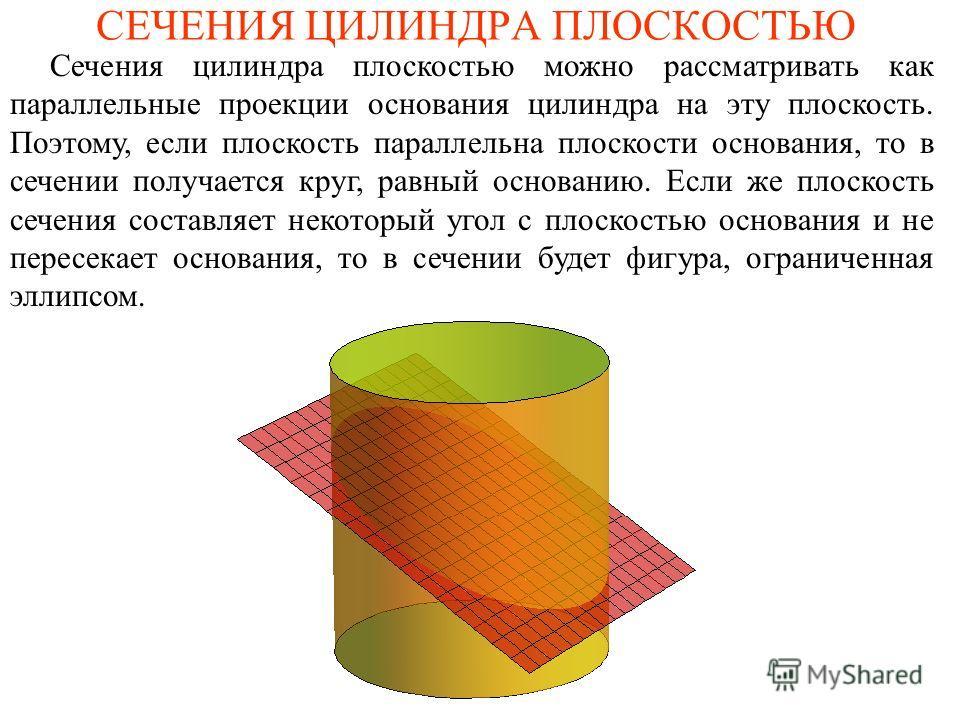 СЕЧЕНИЯ ЦИЛИНДРА ПЛОСКОСТЬЮ Сечения цилиндра плоскостью можно рассматривать как параллельные проекции основания цилиндра на эту плоскость. Поэтому, если плоскость параллельна плоскости основания, то в сечении получается круг, равный основанию. Если ж