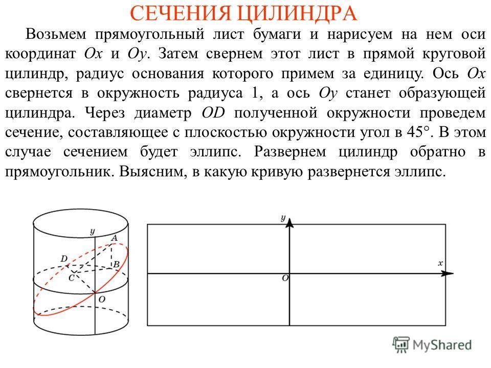 СЕЧЕНИЯ ЦИЛИНДРА Возьмем прямоугольный лист бумаги и нарисуем на нем оси координат Ox и Oy. Затем свернем этот лист в прямой круговой цилиндр, радиус основания которого примем за единицу. Ось Ox свернется в окружность радиуса 1, а ось Oy станет образ