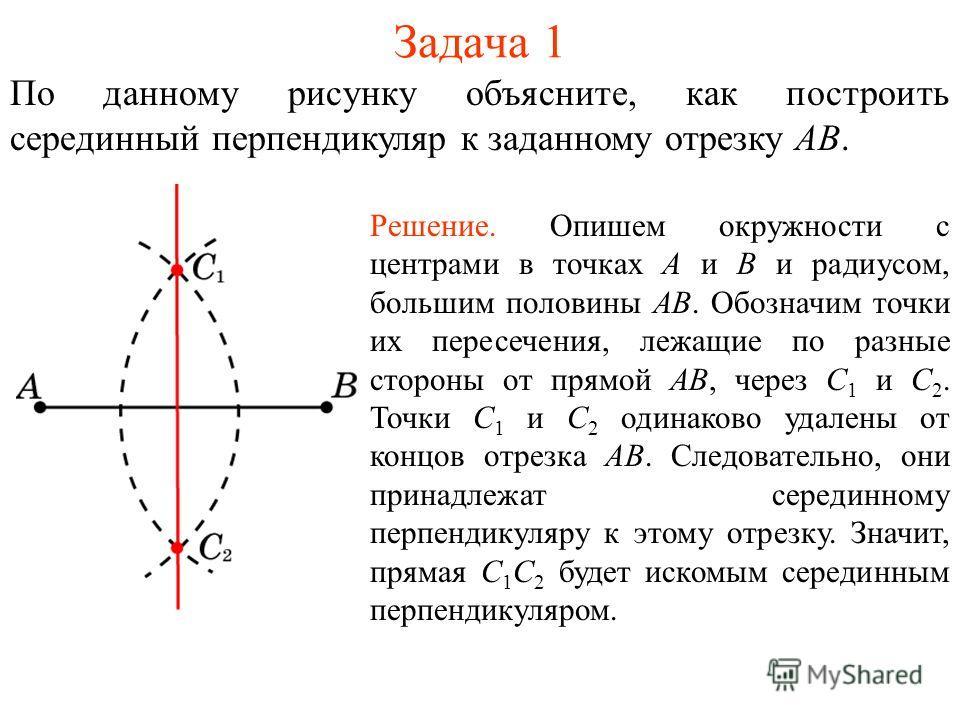Задача 1 По данному рисунку объясните, как построить серединный перпендикуляр к заданному отрезку AB. Решение. Опишем окружности с центрами в точках А и В и радиусом, большим половины АВ. Обозначим точки их пересечения, лежащие по разные стороны от п