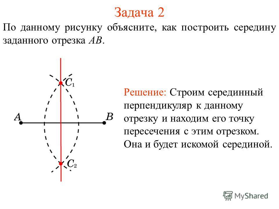 Задача 2 По данному рисунку объясните, как построить середину заданного отрезка AB. Решение: Строим серединный перпендикуляр к данному отрезку и находим его точку пересечения с этим отрезком. Она и будет искомой серединой.