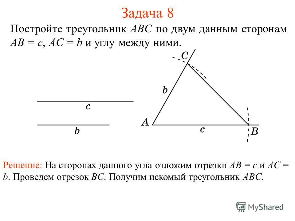 Задача 8 Постройте треугольник ABC по двум данным сторонам AB = c, AC = b и углу между ними. Решение: На сторонах данного угла отложим отрезки AB = c и AC = b. Проведем отрезок BC. Получим искомый треугольник ABC.
