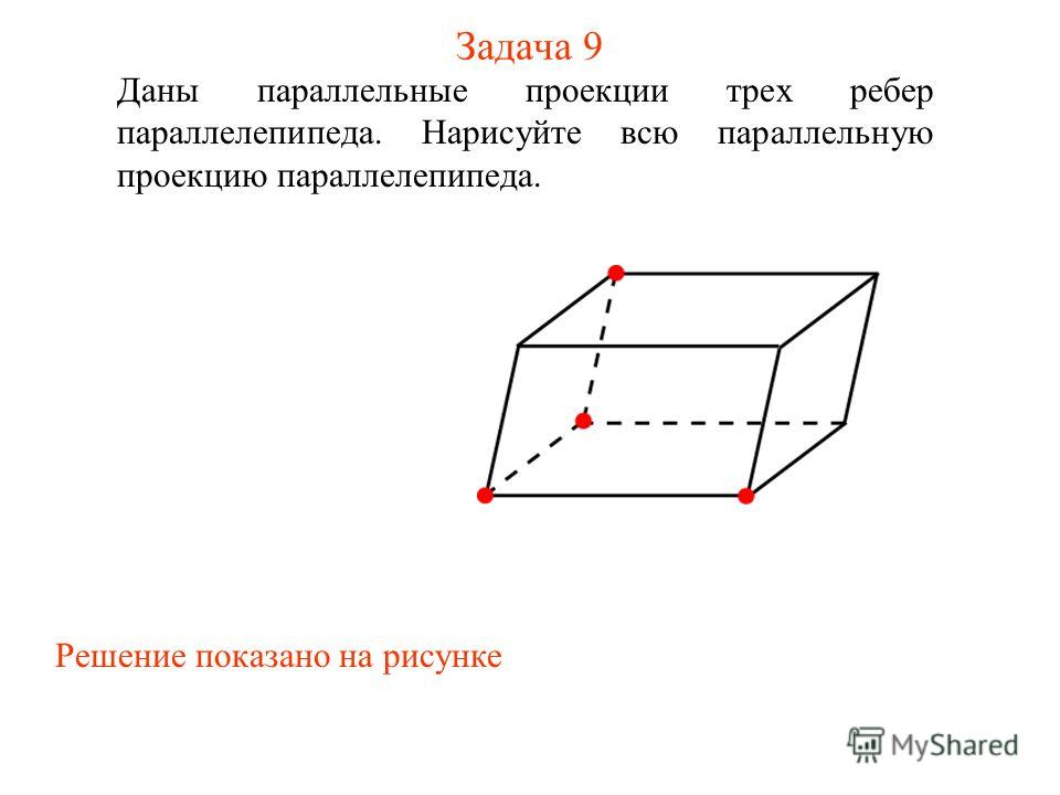 Задача 9 Даны параллельные проекции трех ребер параллелепипеда. Нарисуйте всю параллельную проекцию параллелепипеда. Решение показано на рисунке