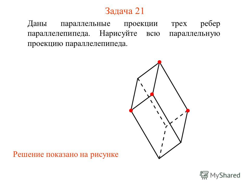Задача 21 Даны параллельные проекции трех ребер параллелепипеда. Нарисуйте всю параллельную проекцию параллелепипеда. Решение показано на рисунке