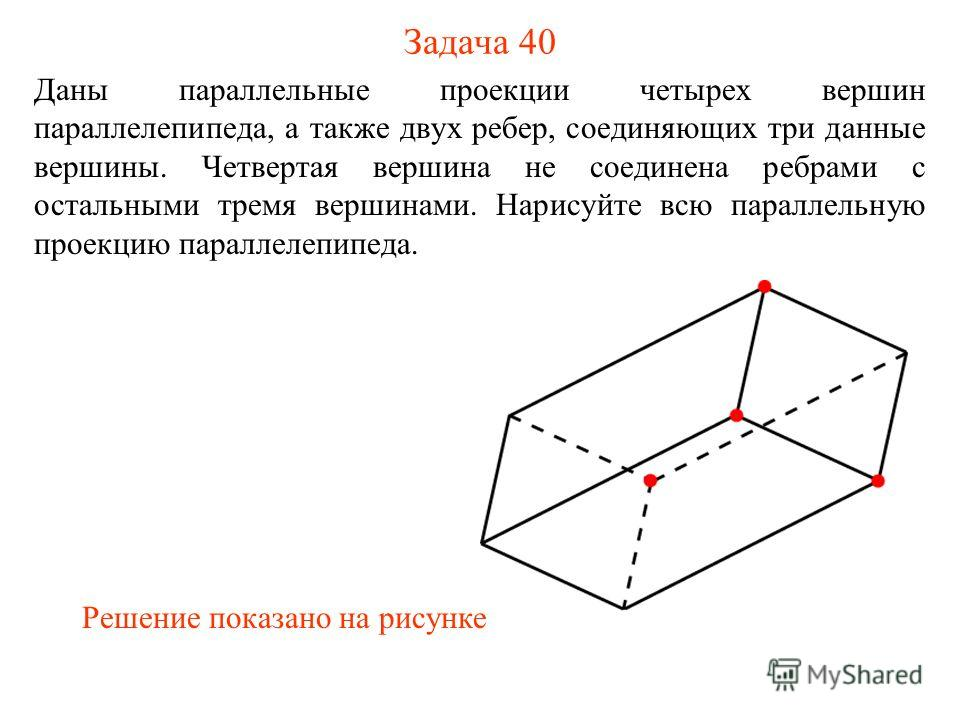 Задача 40 Даны параллельные проекции четырех вершин параллелепипеда, а также двух ребер, соединяющих три данные вершины. Четвертая вершина не соединена ребрами с остальными тремя вершинами. Нарисуйте всю параллельную проекцию параллелепипеда. Решение