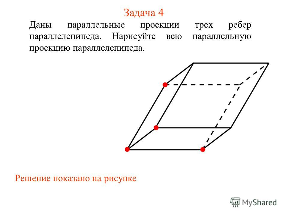 Задача 4 Даны параллельные проекции трех ребер параллелепипеда. Нарисуйте всю параллельную проекцию параллелепипеда. Решение показано на рисунке