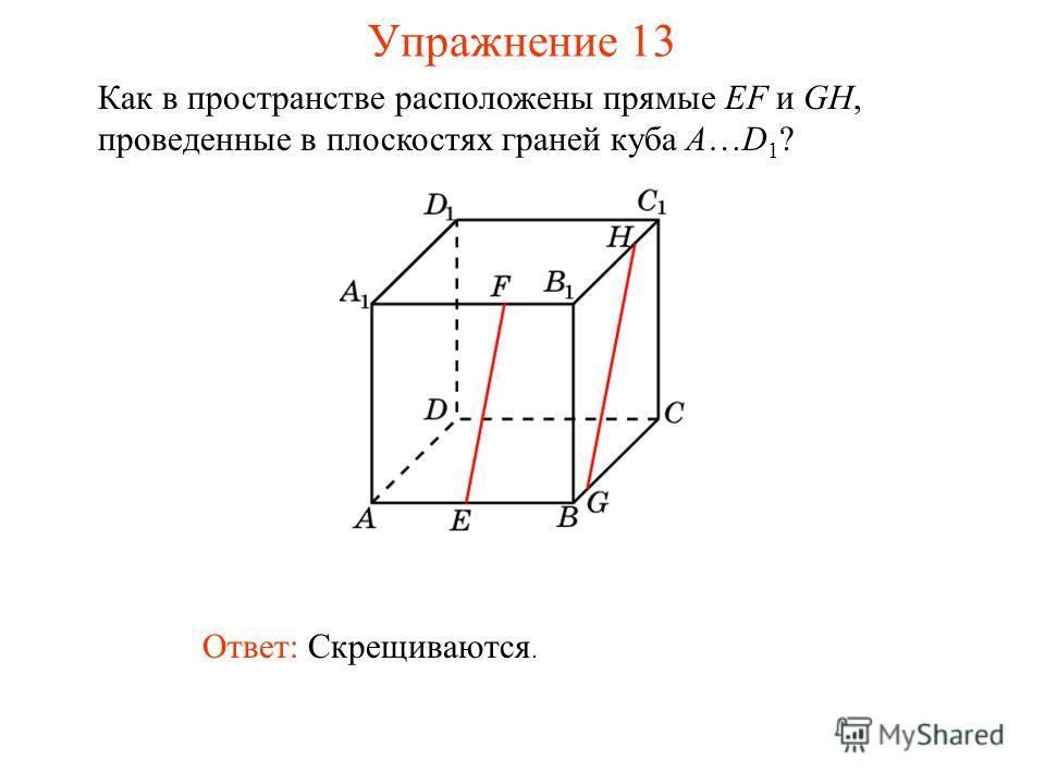 Ответ: Скрещиваются. Как в пространстве расположены прямые EF и GH, проведенные в плоскостях граней куба A…D 1 ? Упражнение 13