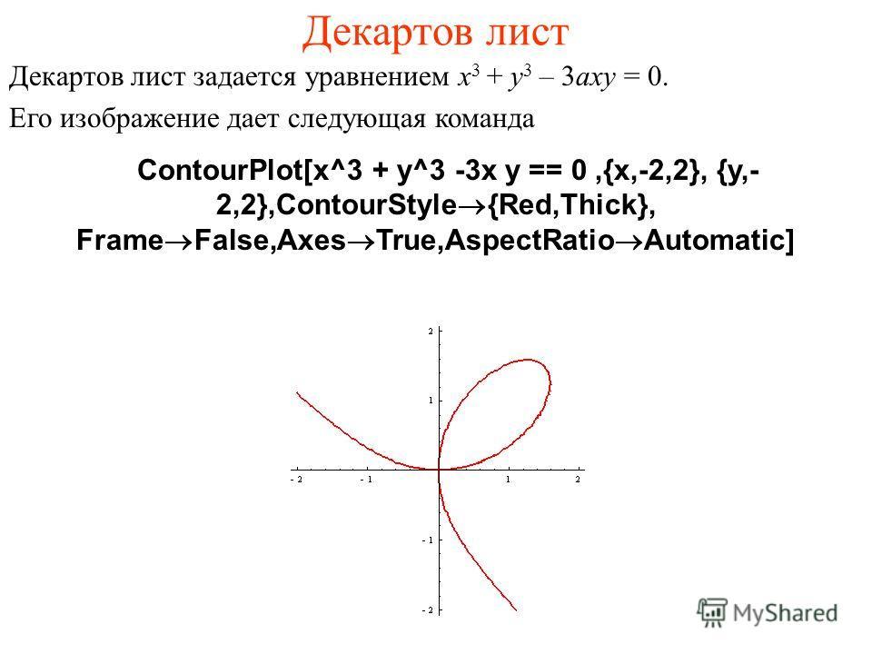 Декартов лист Декартов лист задается уравнением x 3 + y 3 – 3axy = 0. Его изображение дает следующая команда ContourPlot[x^3 + y^3 -3x y == 0,{x,-2,2}, {y,- 2,2},ContourStyle®{Red,Thick}, Frame®False,Axes®True,AspectRatio®Automatic]