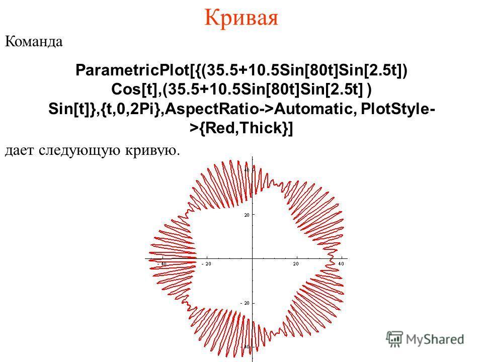 Кривая Команда ParametricPlot[{(35.5+10.5Sin[80t]Sin[2.5t]) Cos[t],(35.5+10.5Sin[80t]Sin[2.5t] ) Sin[t]},{t,0,2Pi},AspectRatio->Automatic, PlotStyle- >{Red,Thick}] дает следующую кривую.