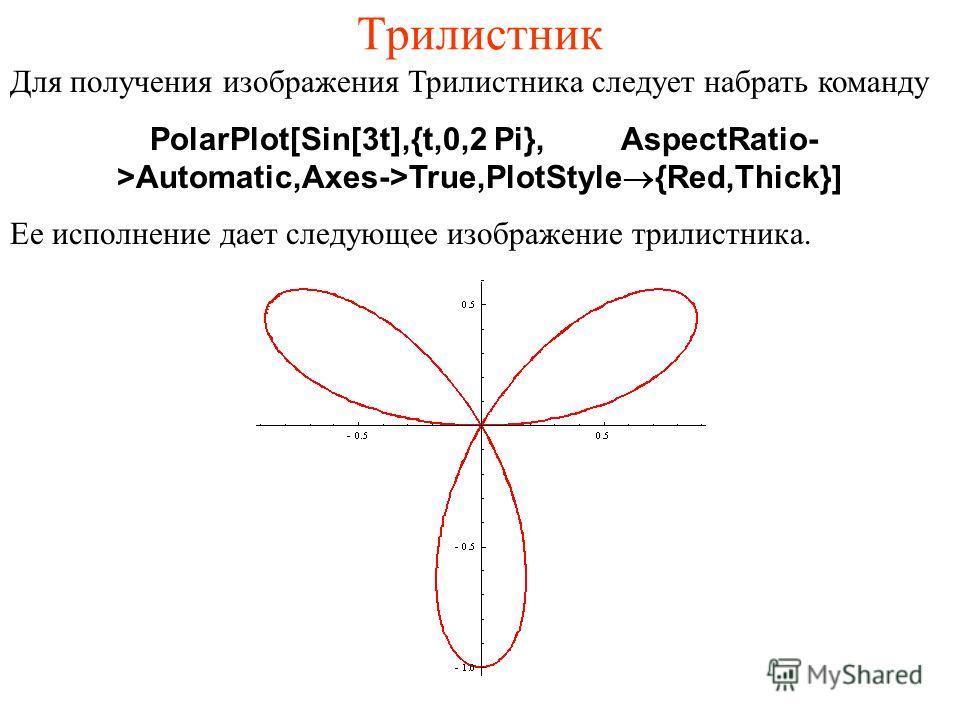Трилистник Для получения изображения Трилистника следует набрать команду PolarPlot[Sin[3t],{t,0,2 Pi},AspectRatio- >Automatic,Axes->True,PlotStyle®{Red,Thick}] Ее исполнение дает следующее изображение трилистника.