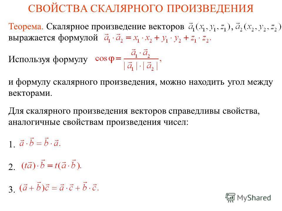 СВОЙСТВА СКАЛЯРНОГО ПРОИЗВЕДЕНИЯ Для скалярного произведения векторов справедливы свойства, аналогичные свойствам произведения чисел: 1. 2. 3. Используя формулу и формулу скалярного произведения, можно находить угол между векторами. Теорема. Скалярно