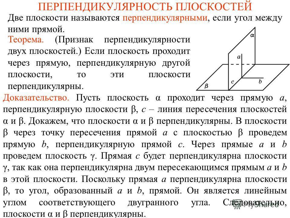ПЕРПЕНДИКУЛЯРНОСТЬ ПЛОСКОСТЕЙ Две плоскости называются перпендикулярными, если угол между ними прямой. Доказательство. Пусть плоскость α проходит через прямую a, перпендикулярную плоскости β, c – линия пересечения плоскостей α и β. Докажем, что плоск
