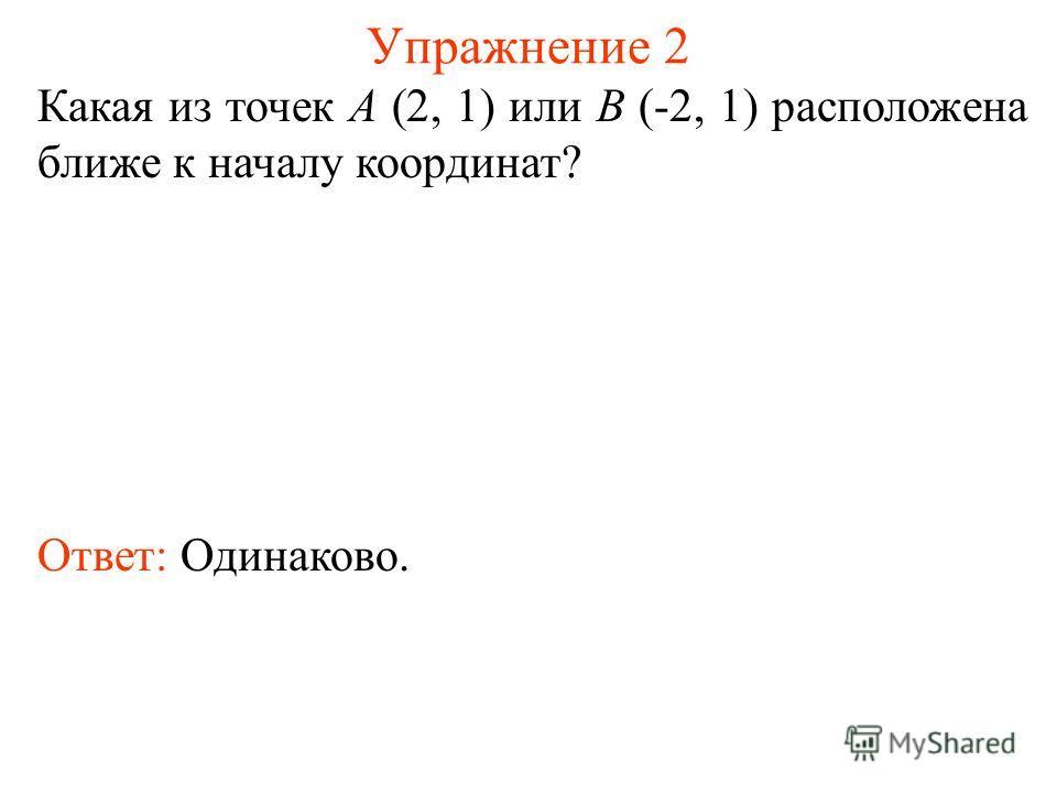 Упражнение 2 Какая из точек A (2, 1) или B (-2, 1) расположена ближе к началу координат? Ответ: Одинаково.