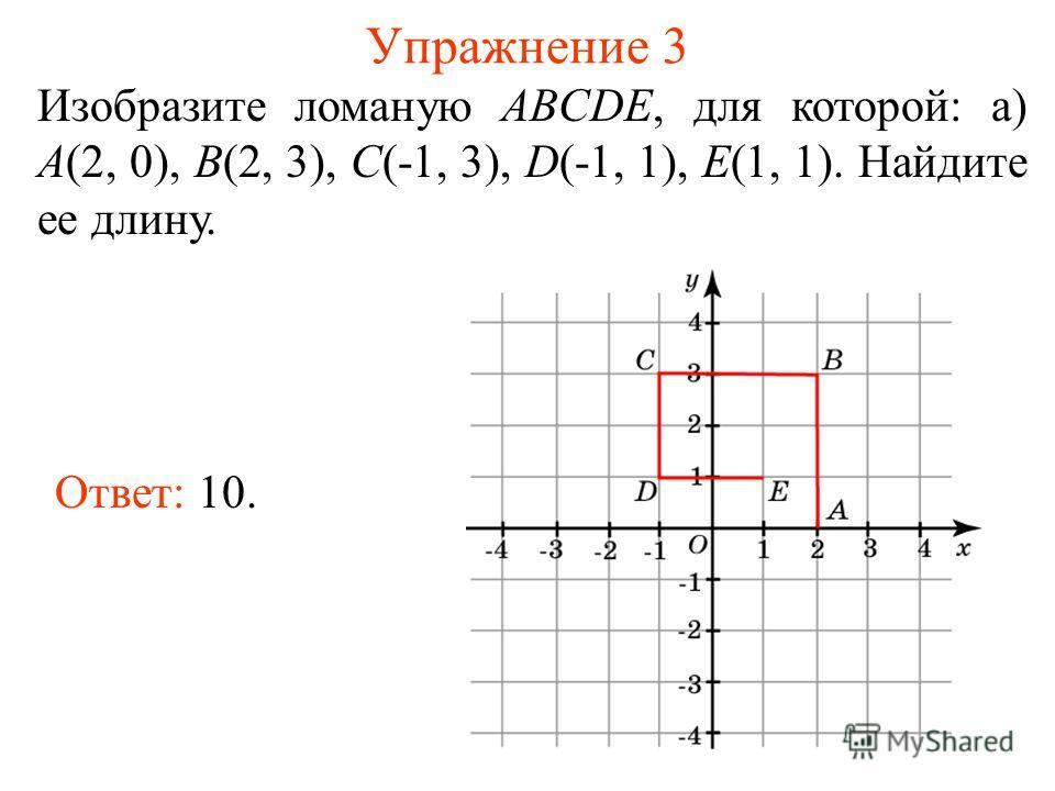Упражнение 3 Изобразите ломаную ABCDE, для которой: а) A(2, 0), B(2, 3), C(-1, 3), D(-1, 1), E(1, 1). Найдите ее длину. Ответ: 10.
