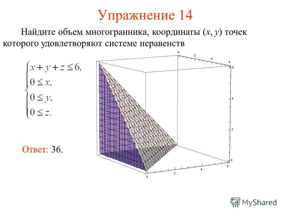 Упражнение 14 Найдите объем многогранника, координаты (x, y) точек которого удовлетворяют системе неравенств Ответ: 36.