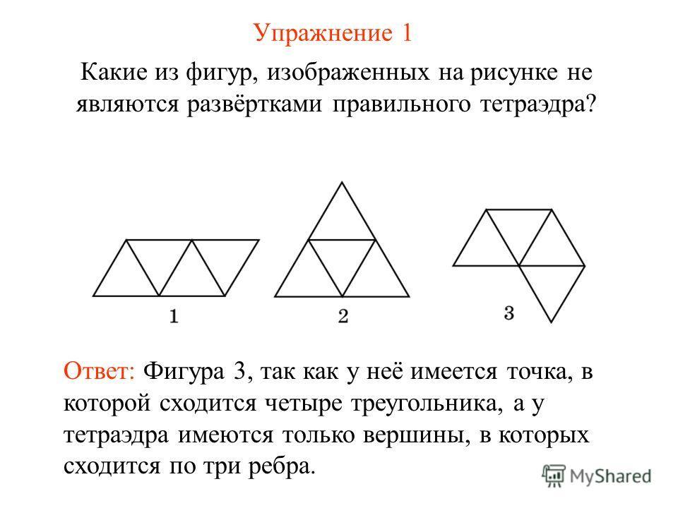 Упражнение 1 Какие из фигур, изображенных на рисунке не являются развёртками правильного тетраэдра? Ответ: Фигура 3, так как у неё имеется точка, в которой сходится четыре треугольника, а у тетраэдра имеются только вершины, в которых сходится по три