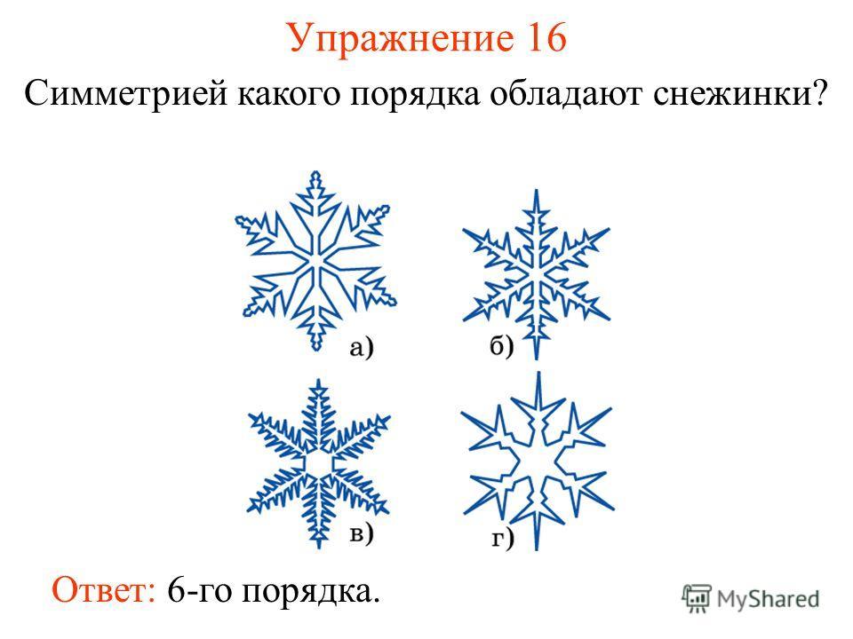 Упражнение 16 Симметрией какого порядка обладают снежинки? Ответ: 6-го порядка.