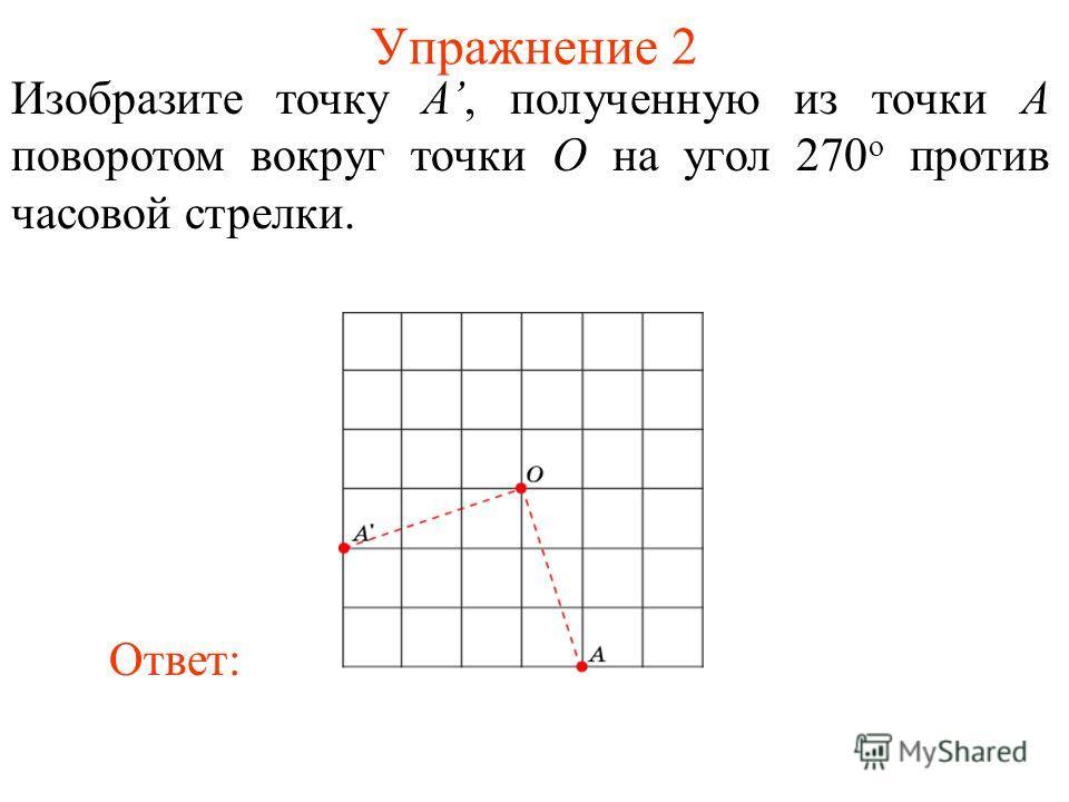 Упражнение 2 Изобразите точку A, полученную из точки A поворотом вокруг точки O на угол 270 о против часовой стрелки. Ответ: