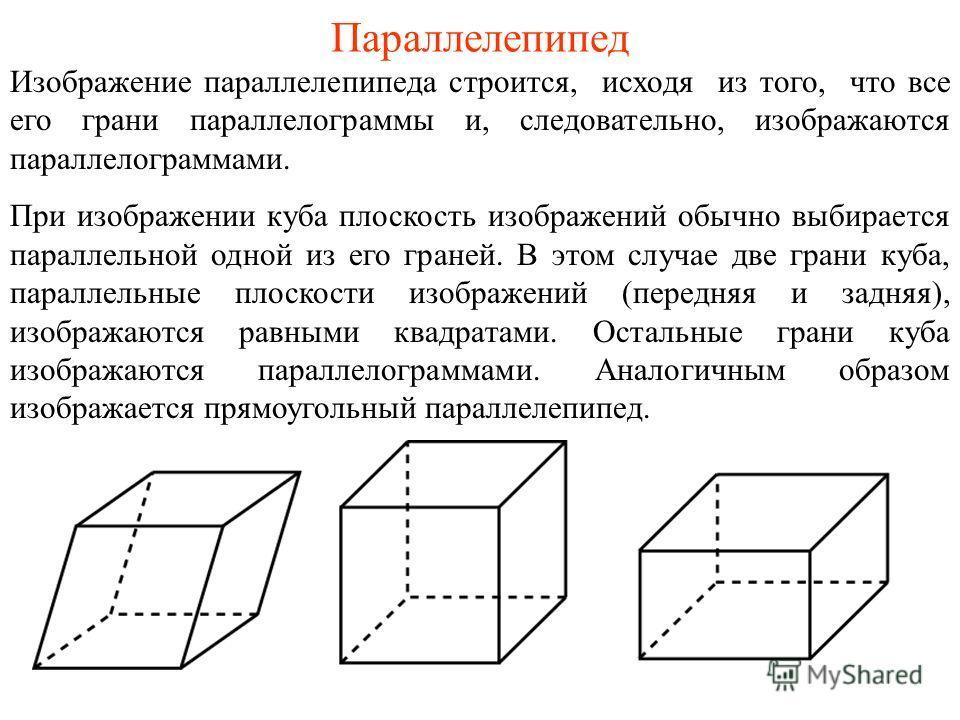 Параллелепипед Изображение параллелепипеда строится, исходя из того, что все его грани параллелограммы и, следовательно, изображаются параллелограммами. При изображении куба плоскость изображений обычно выбирается параллельной одной из его граней. В