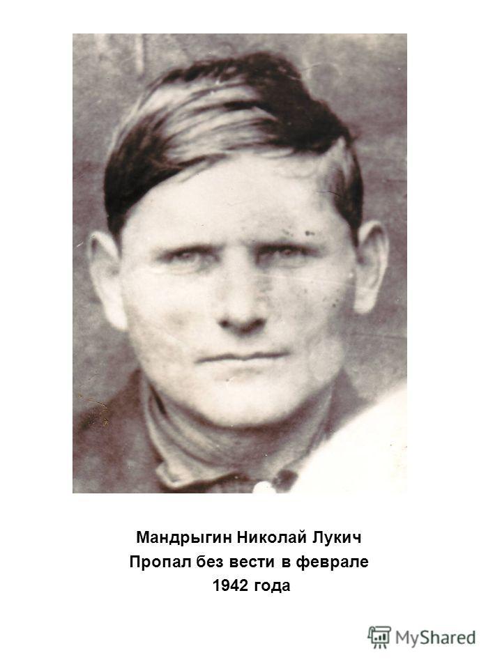 Мандрыгин Николай Лукич Пропал без вести в феврале 1942 года